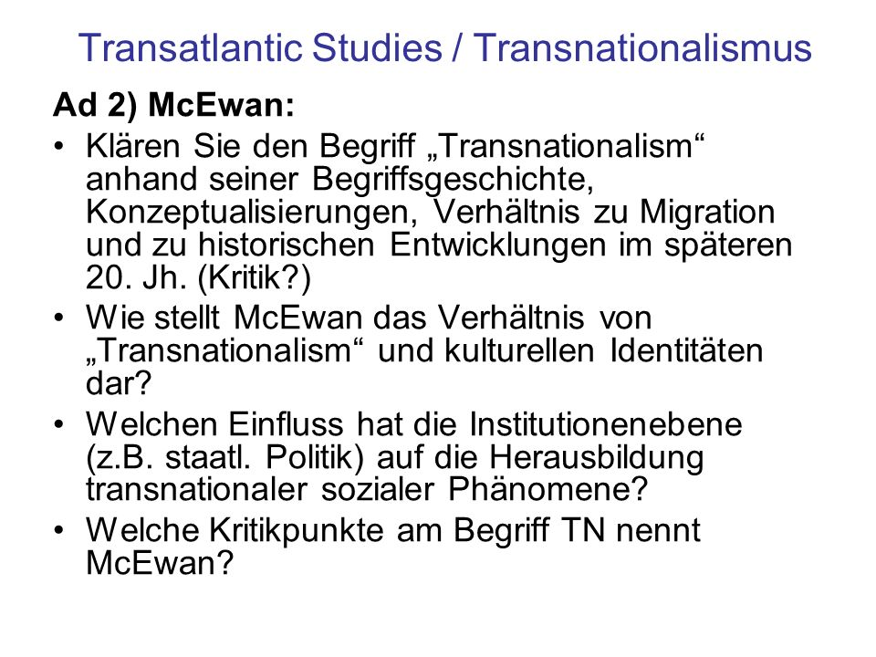 Transatlantic Studies / Transnationalismus