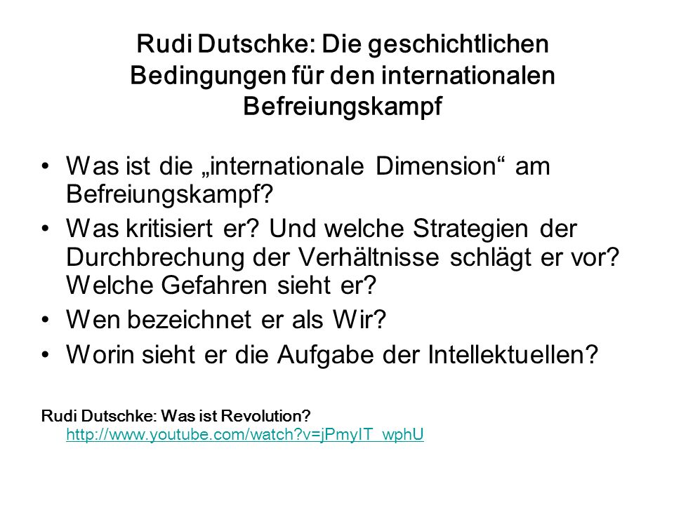 "Was ist die ""internationale Dimension am Befreiungskampf"