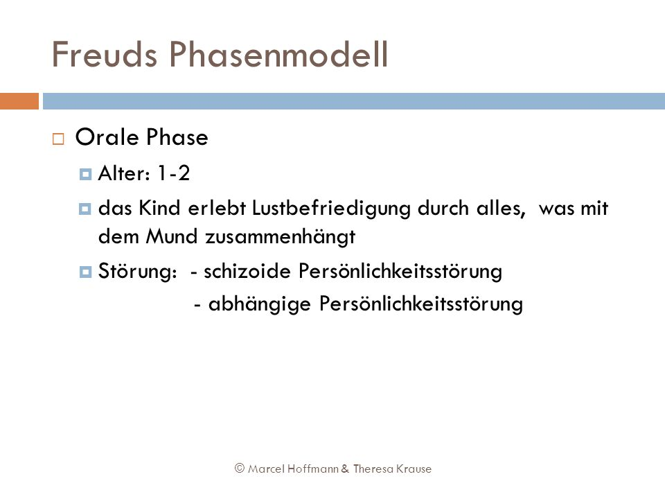 Freuds Phasenmodell Orale Phase Alter: 1-2