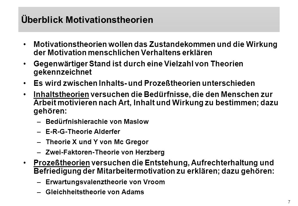 Überblick Motivationstheorien