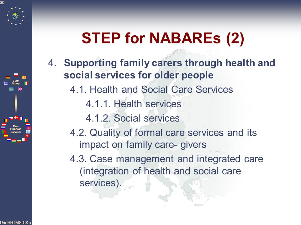 STEP for NABAREs (2) 4. Supporting family carers through health and social services for older people.