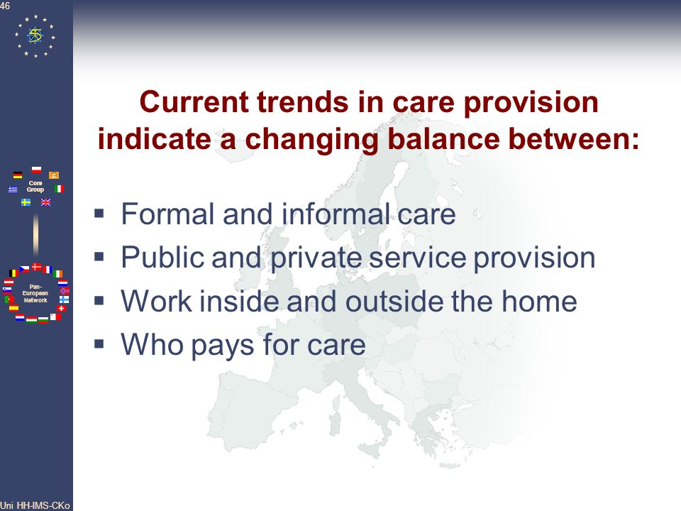 Current trends in care provision indicate a changing balance between: