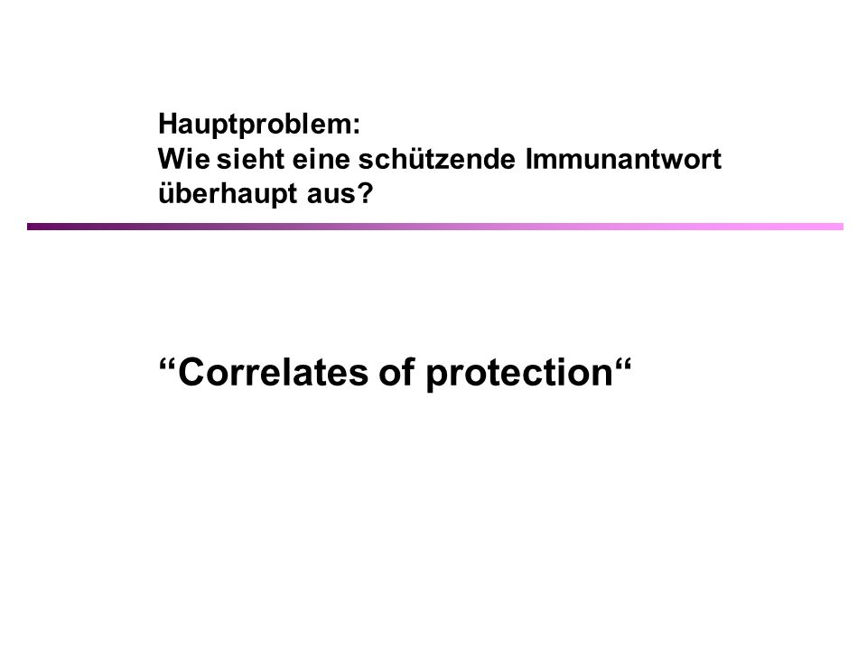 Correlates of protection