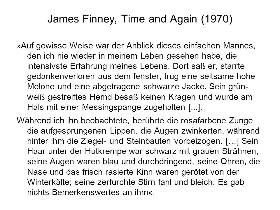 James Finney, Time and Again (1970)