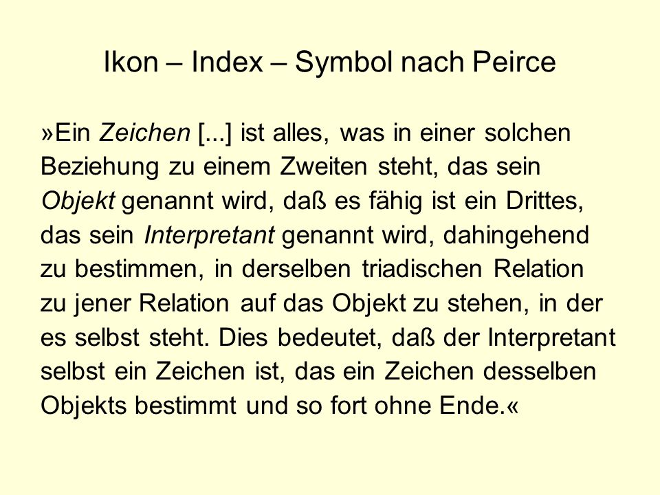 Ikon – Index – Symbol nach Peirce