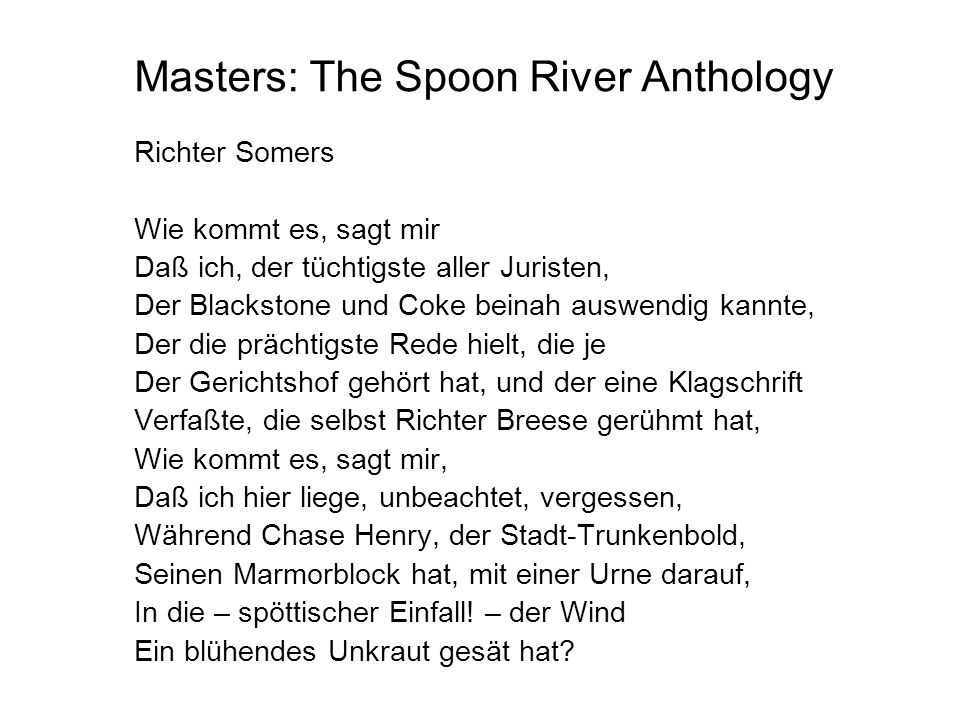 Masters: The Spoon River Anthology