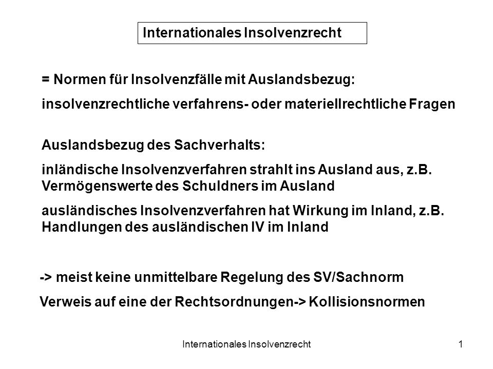 Internationales Insolvenzrecht