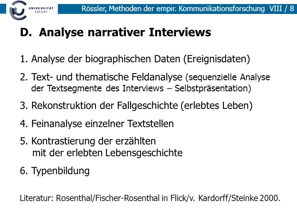 D. Analyse narrativer Interviews