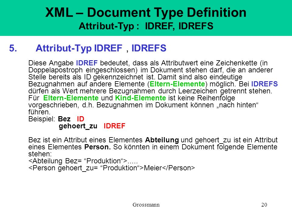 XML – Document Type Definition Attribut-Typ : IDREF, IDREFS
