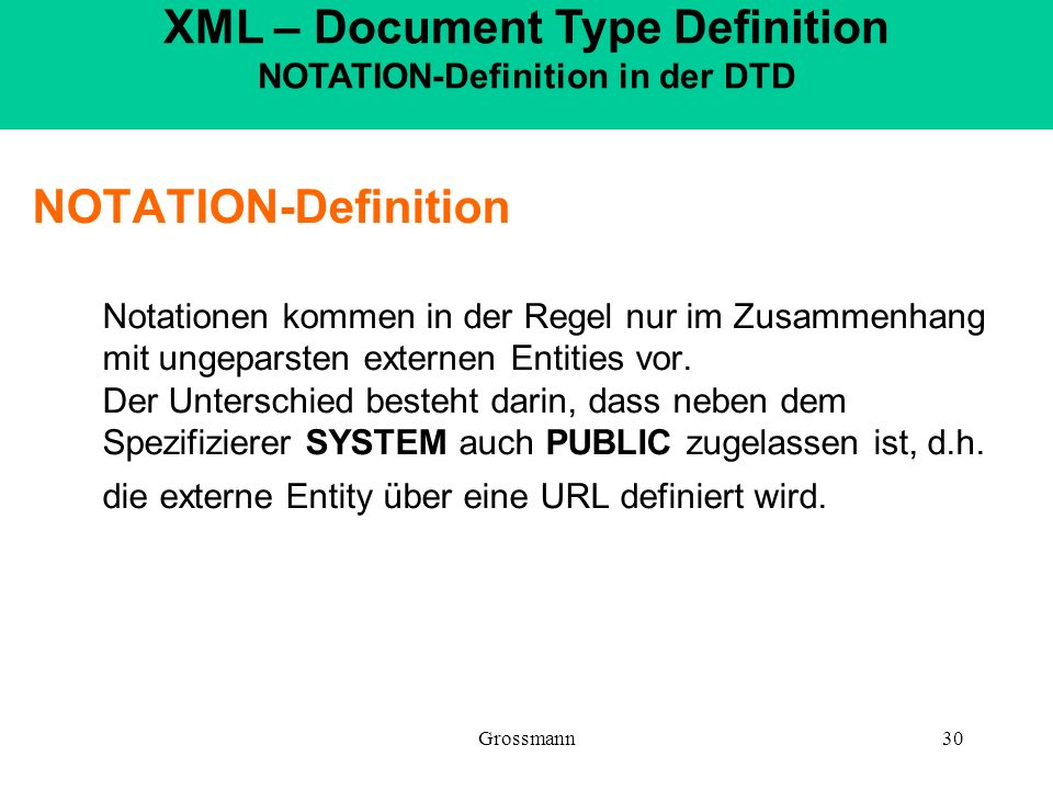 XML – Document Type Definition NOTATION-Definition in der DTD