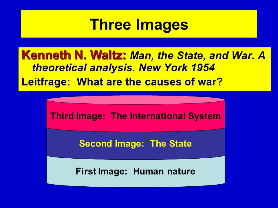 Three Images Kenneth N. Waltz: Man, the State, and War. A theoretical analysis. New York Leitfrage: What are the causes of war