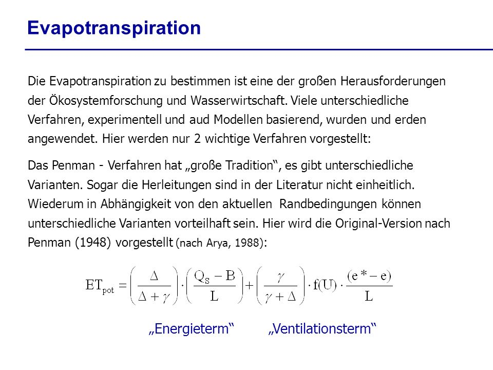 "Evapotranspiration ""Energieterm ""Ventilationsterm"