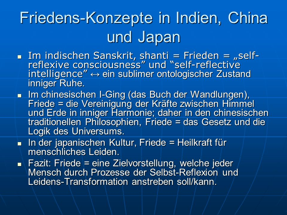 Friedens-Konzepte in Indien, China und Japan