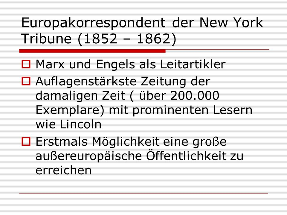Europakorrespondent der New York Tribune (1852 – 1862)