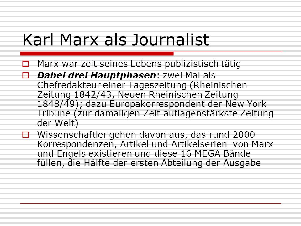 Karl Marx als Journalist