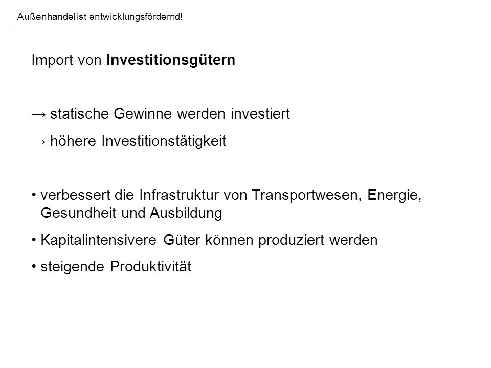 Import von Investitionsgütern