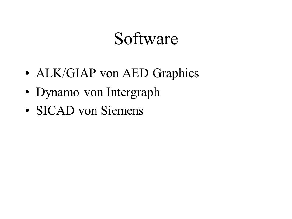 Software ALK/GIAP von AED Graphics Dynamo von Intergraph