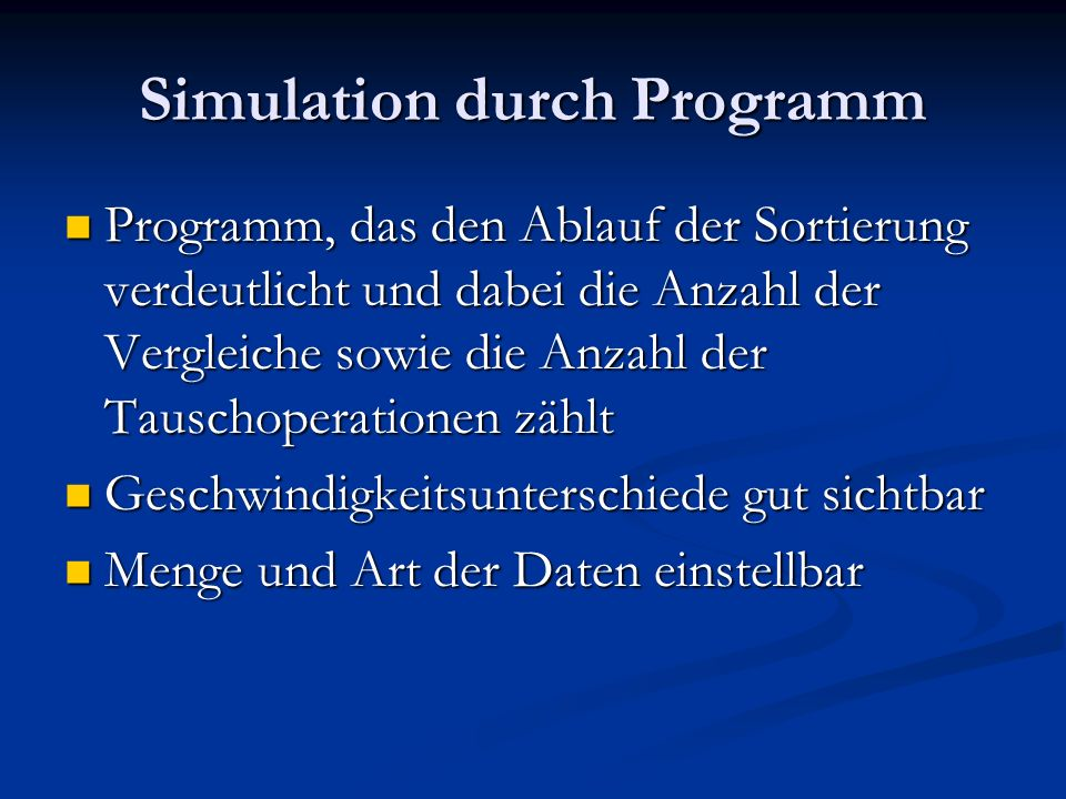 Simulation durch Programm