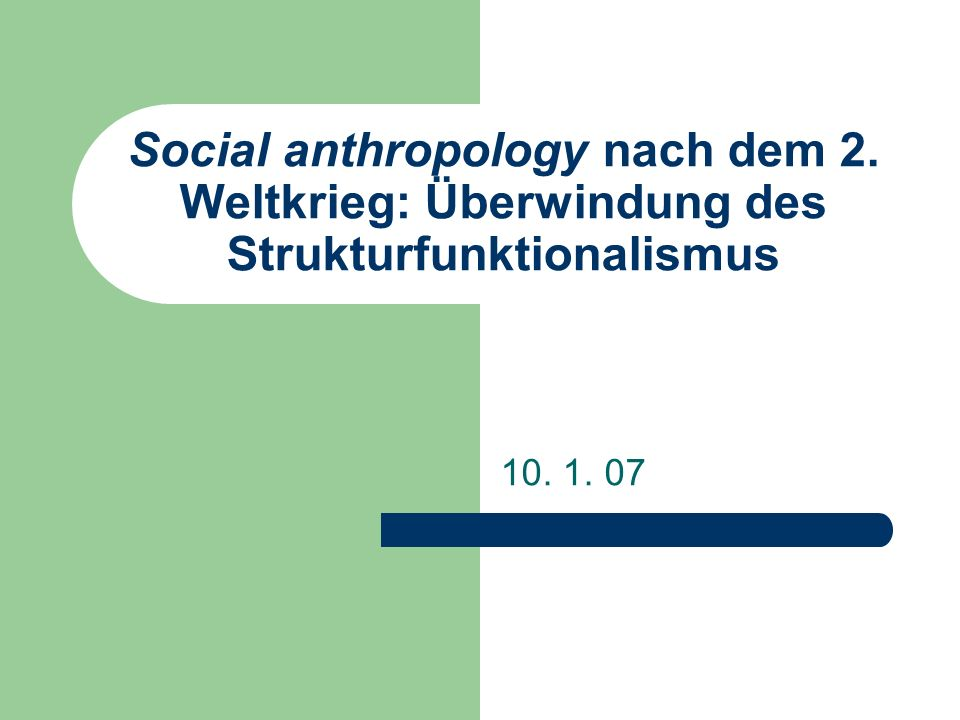 Social anthropology nach dem 2