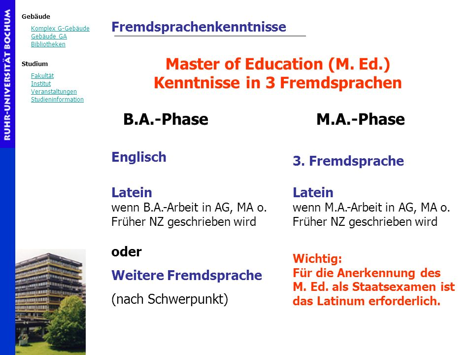 Master of Education (M. Ed.) Kenntnisse in 3 Fremdsprachen