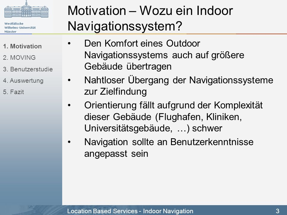 Motivation – Wozu ein Indoor Navigationssystem