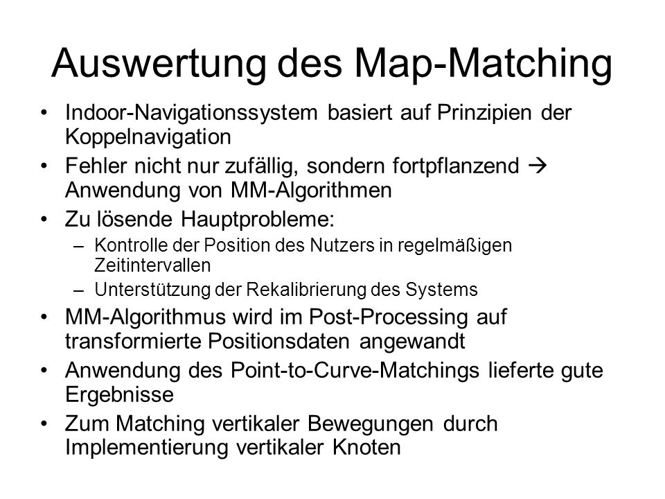 Auswertung des Map-Matching