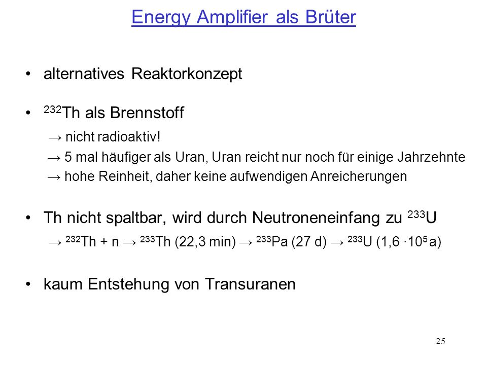 Energy Amplifier als Brüter
