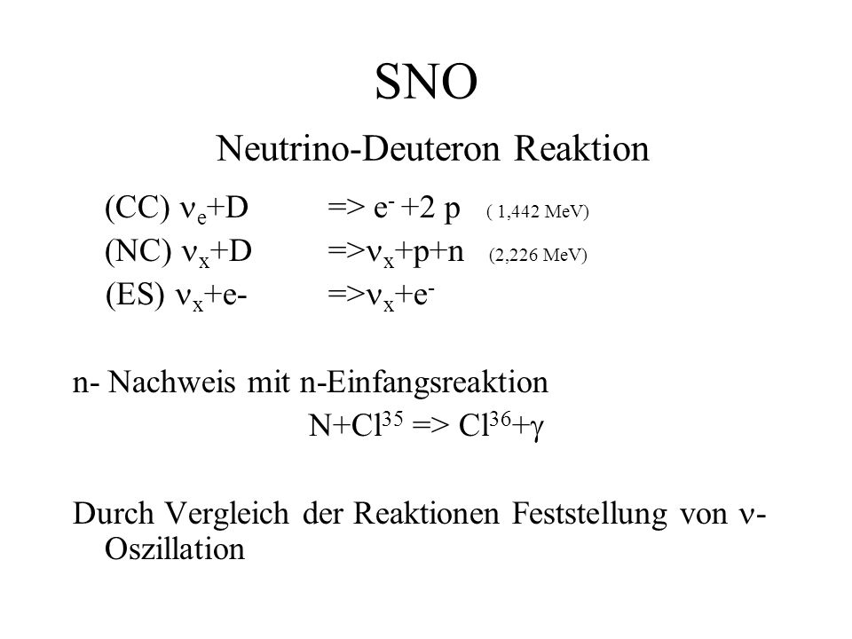 SNO Neutrino-Deuteron Reaktion