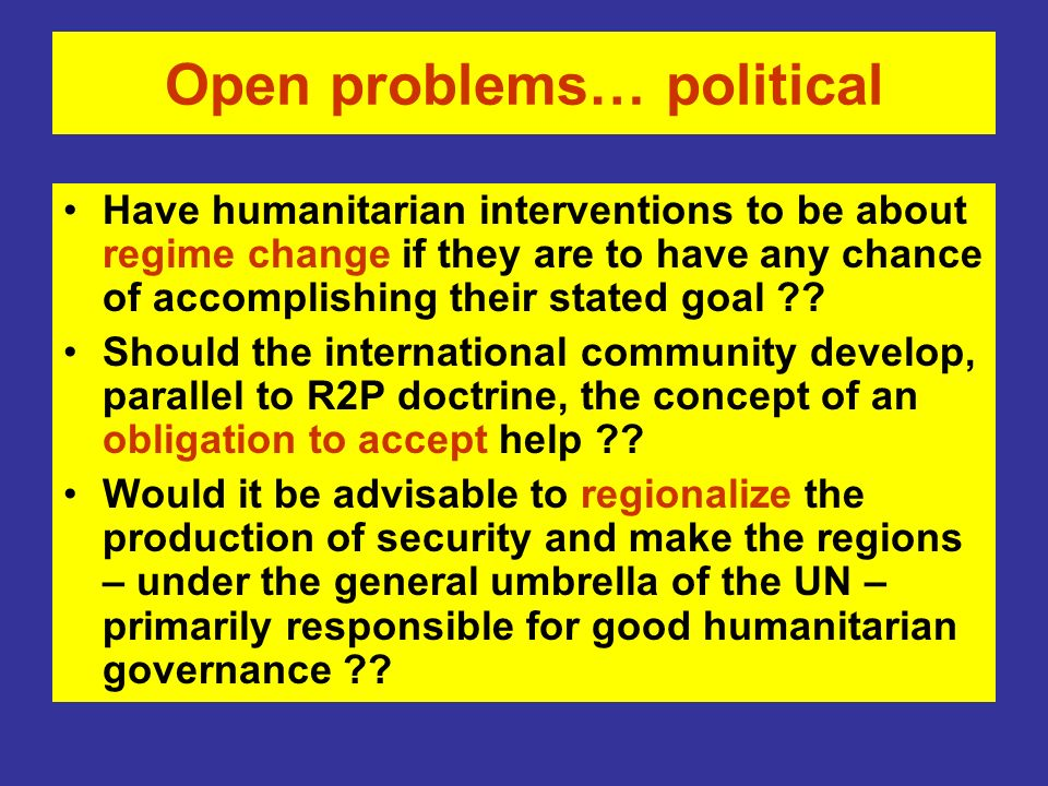 Open problems… political