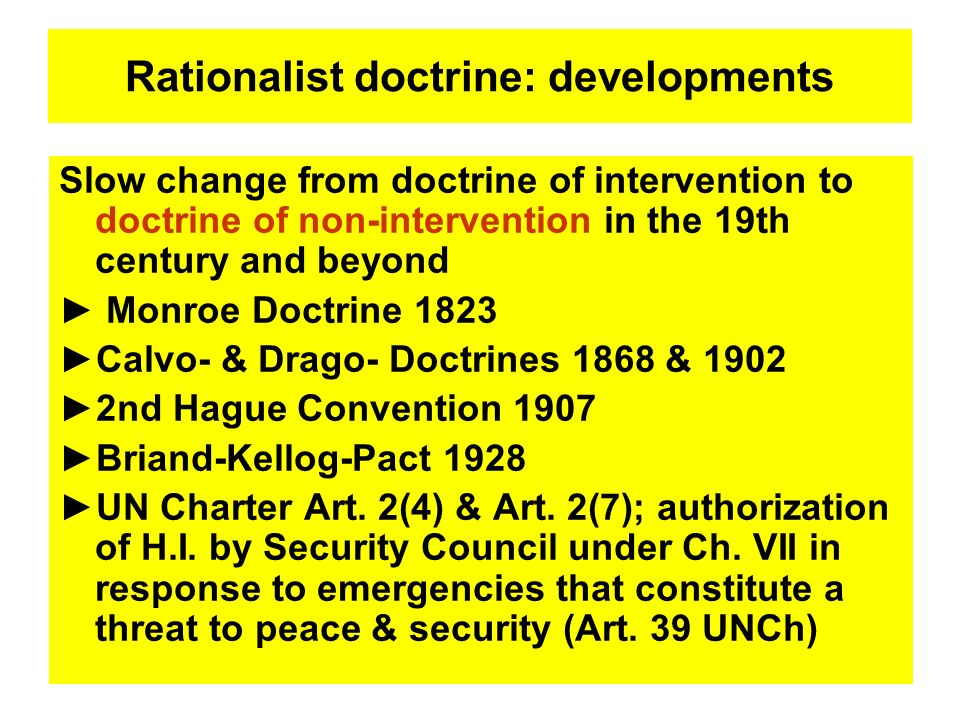 Rationalist doctrine: developments