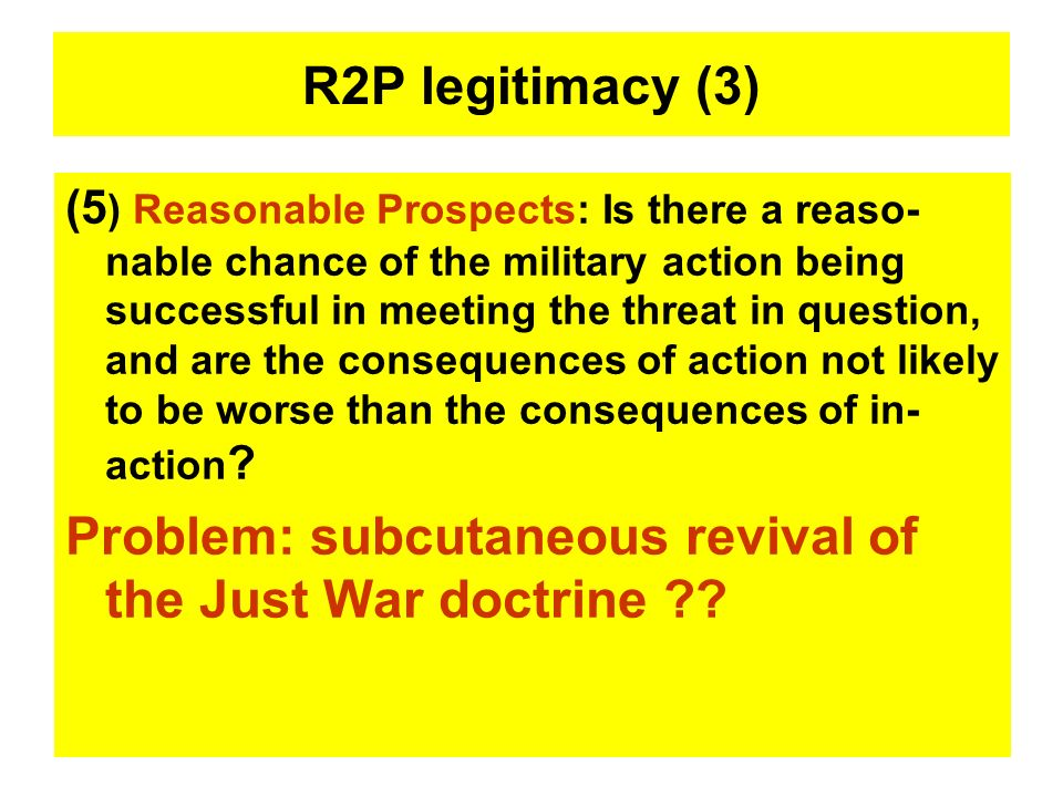 Problem: subcutaneous revival of the Just War doctrine