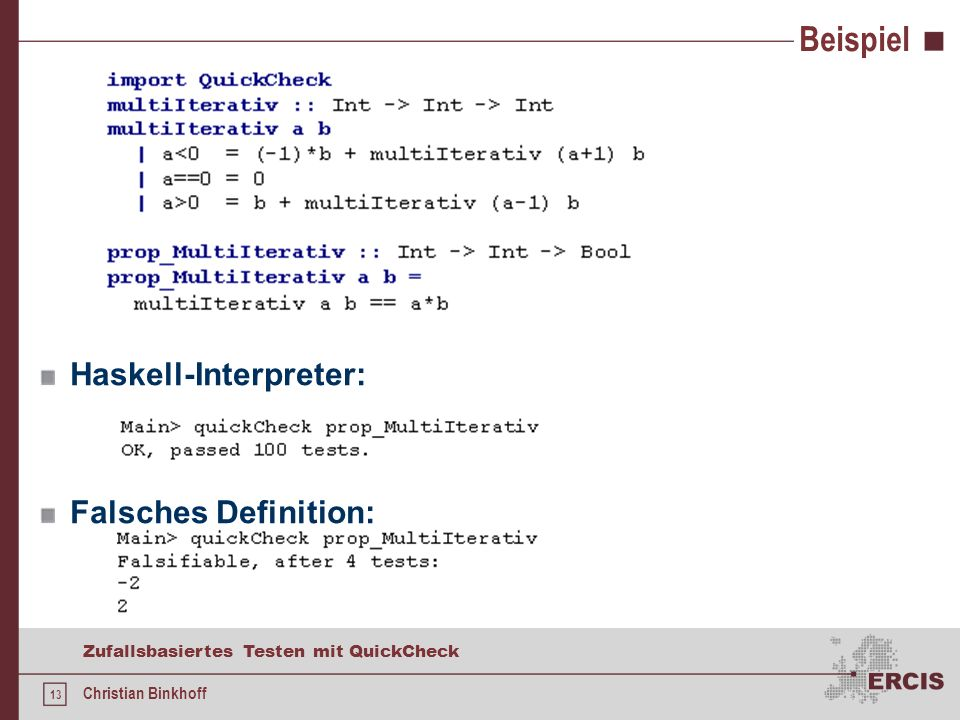 Beispiel Haskell-Interpreter: Falsches Definition: