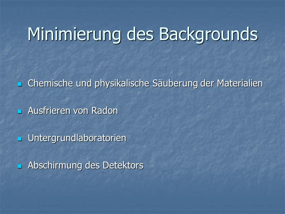 Minimierung des Backgrounds