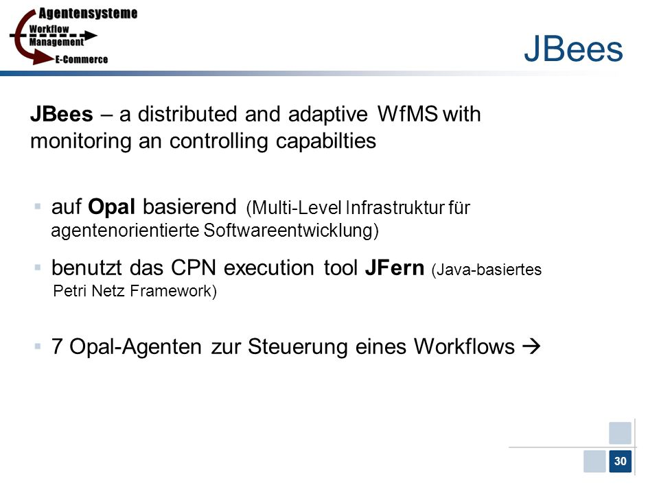 JBees JBees – a distributed and adaptive WfMS with monitoring an controlling capabilties.