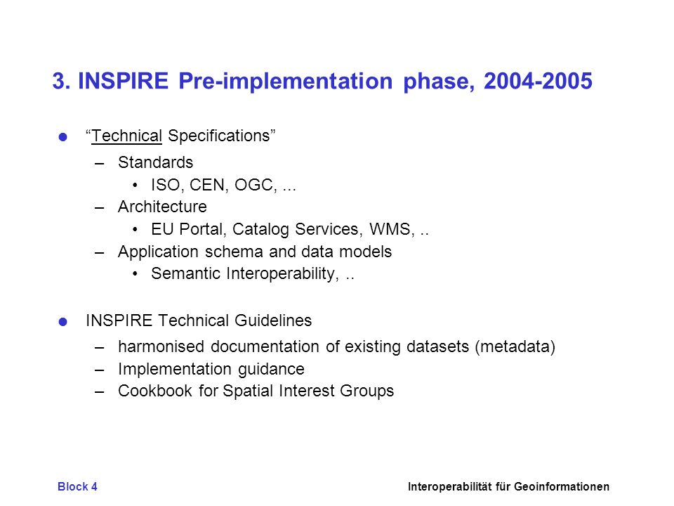 3. INSPIRE Pre-implementation phase,