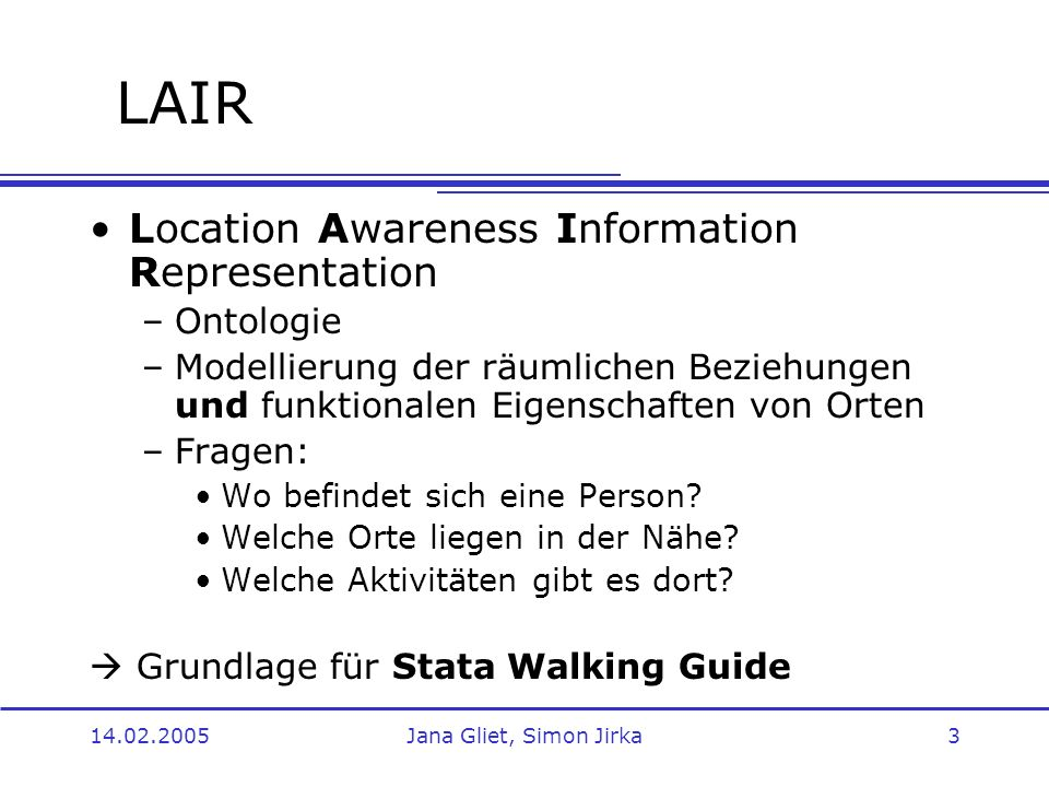 LAIR Location Awareness Information Representation Ontologie