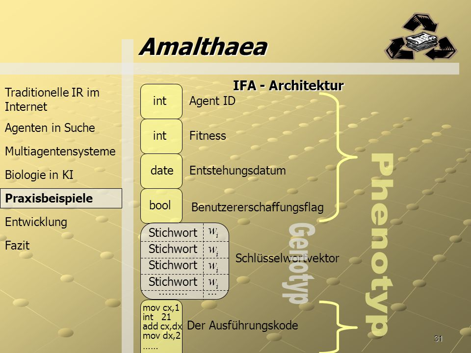 Amalthaea Phenotyp Genotyp IFA - Architektur