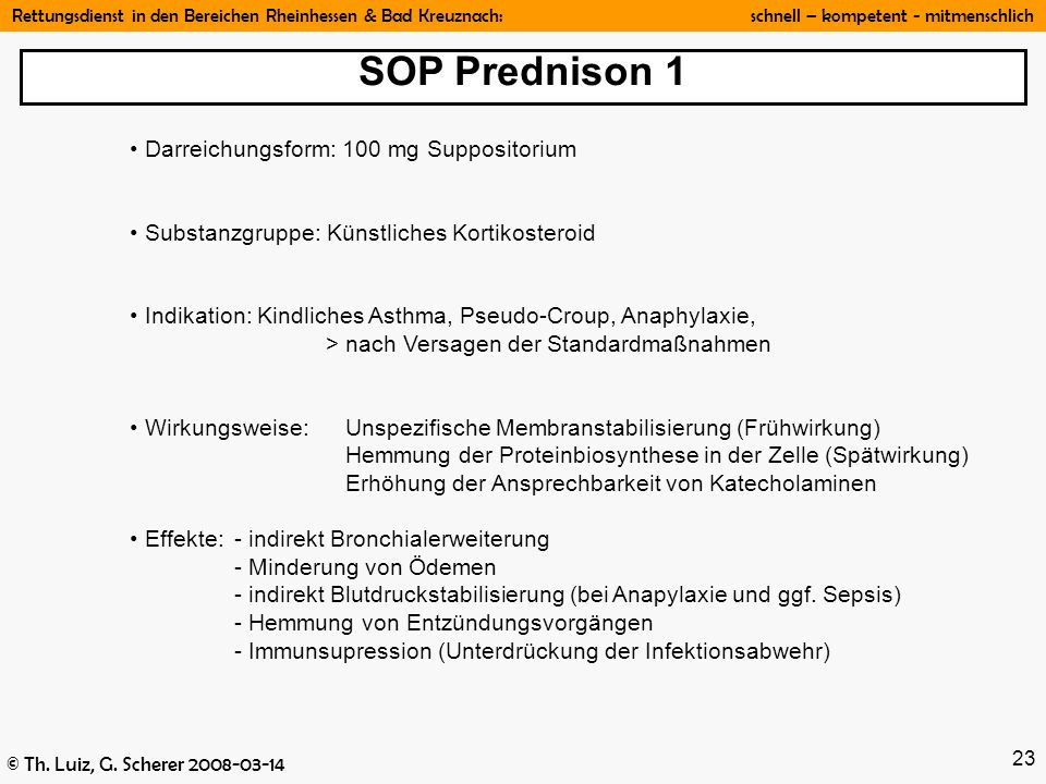 SOP Prednison 1 Darreichungsform: 100 mg Suppositorium