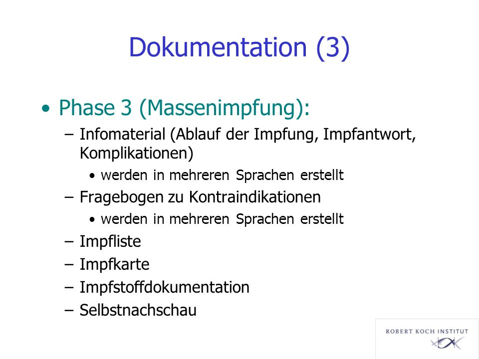 Dokumentation (3) Phase 3 (Massenimpfung):