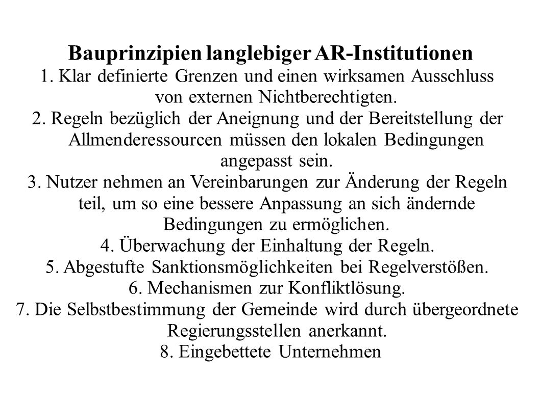 Bauprinzipien langlebiger AR-Institutionen