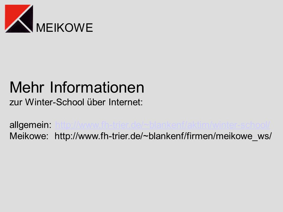Mehr Informationen zur Winter-School über Internet:
