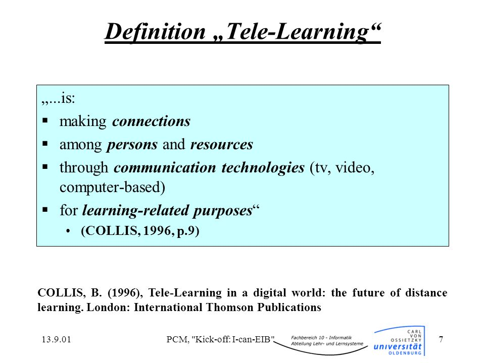 "Definition ""Tele-Learning"