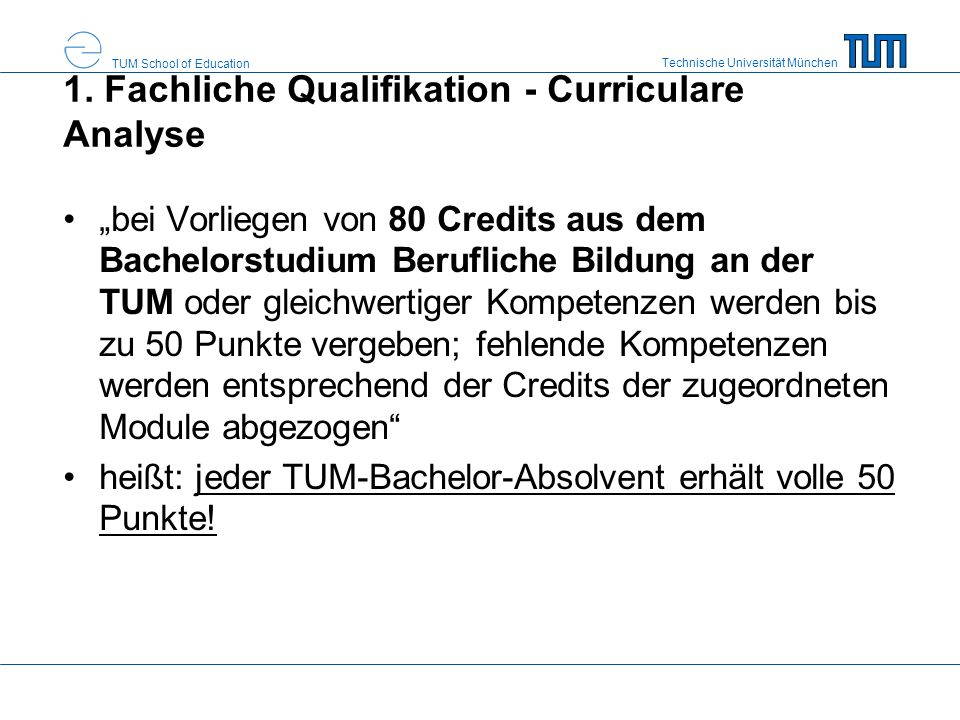 1. Fachliche Qualifikation - Curriculare Analyse