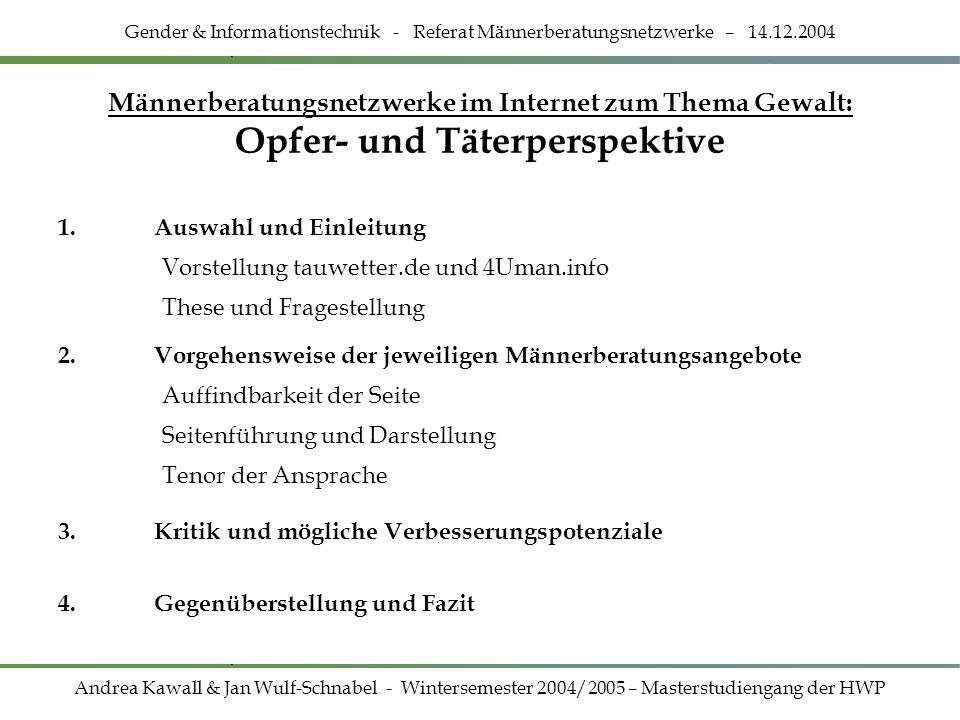 Gender & Informationstechnik - Referat Männerberatungsnetzwerke – 14