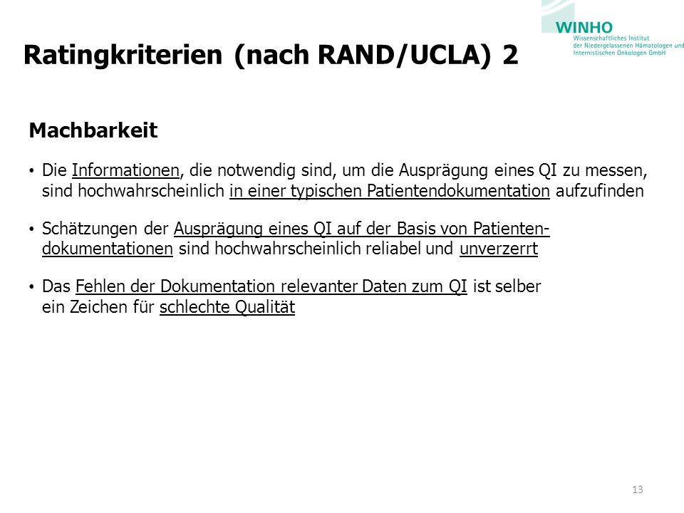 Ratingkriterien (nach RAND/UCLA) 2