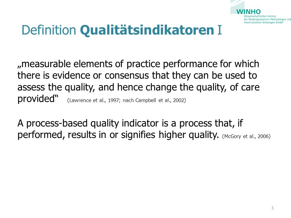 Definition Qualitätsindikatoren I