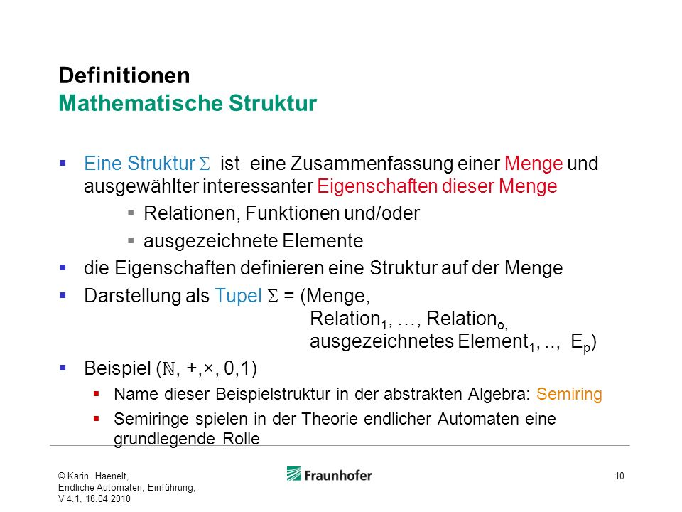 Definitionen Mathematische Struktur