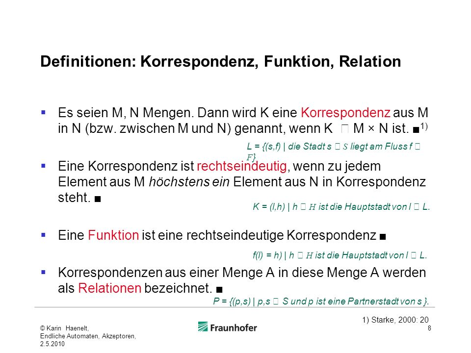 Definitionen: Korrespondenz, Funktion, Relation
