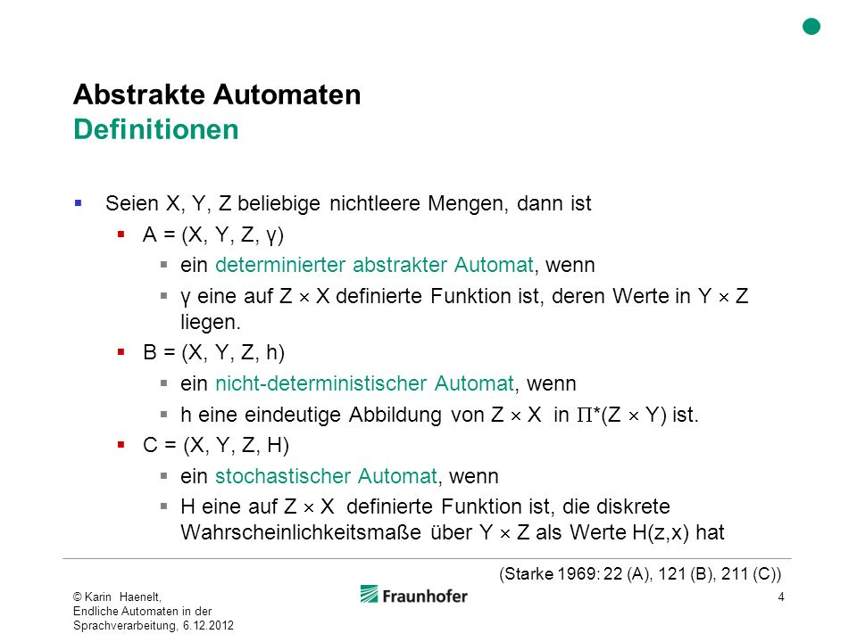 Abstrakte Automaten Definitionen