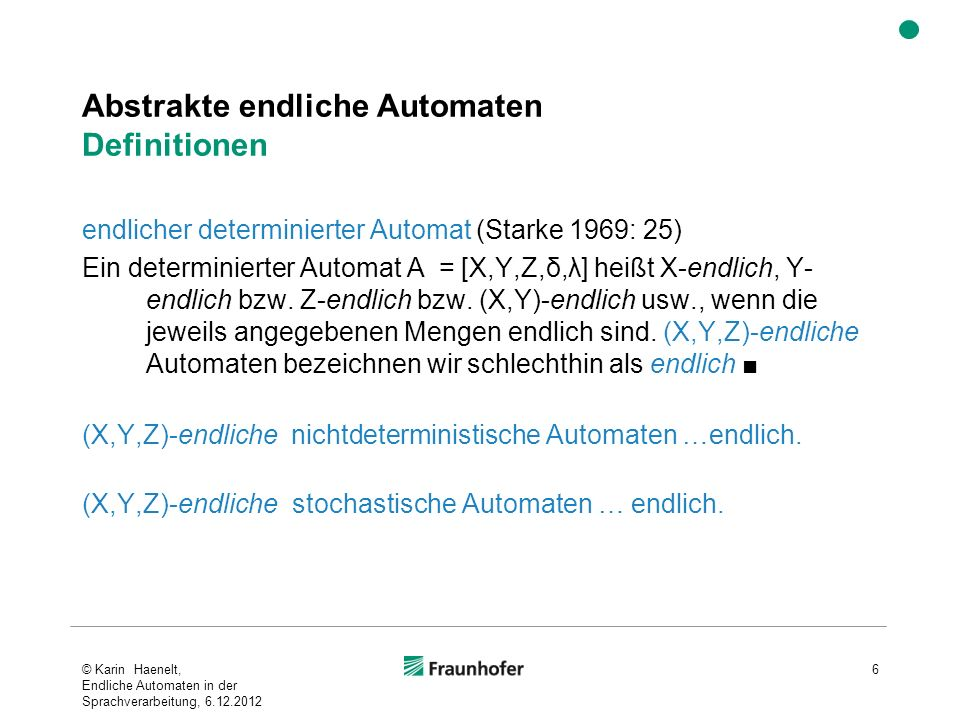 Abstrakte endliche Automaten Definitionen